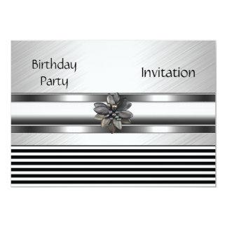 Einladungs-elegantes schwarzes 12,7 x 17,8 cm einladungskarte
