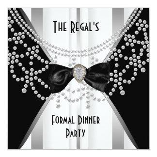 Einladungs-formales Abendessen-Schwarz-weißer Quadratische 13,3 Cm Einladungskarte