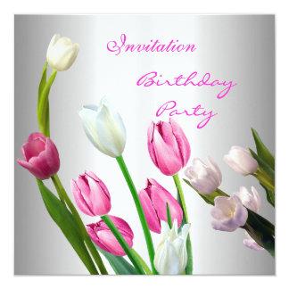 Einladungs-Geburtstags-50. elegantes rosa u. Quadratische 13,3 Cm Einladungskarte