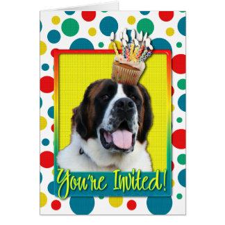 Einladungs-kleiner Kuchen - Bernhardiner - Mae Karte