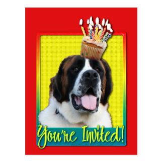 Einladungs-kleiner Kuchen - Bernhardiner - Mae Postkarte