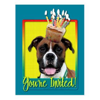 Einladungs-kleiner Kuchen - Boxer - Vindy Postkarte