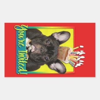 Einladungs-kleiner Kuchen - französische Bulldogge Rechteckiger Aufkleber