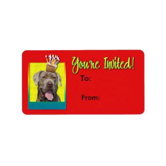 Einladungs-kleiner Kuchen - Mastiff - Schnüffler Adressaufkleber