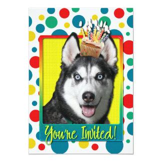 Einladungs-kleiner Kuchen - sibirischer Husky 12,7 X 17,8 Cm Einladungskarte