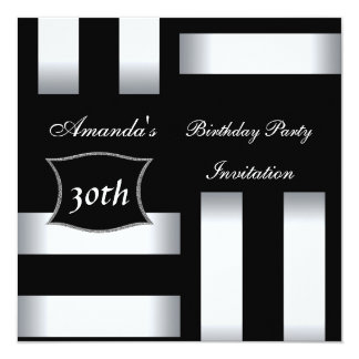 Einladungs-Kunst-Deko-Schwarz-weißes 30. Quadratische 13,3 Cm Einladungskarte