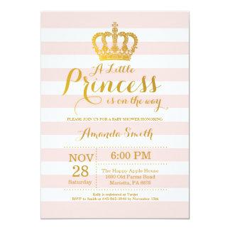 Einladungs Rosa Und Gold Prinzessin Babyparty 12,7 X 17,8 Cm