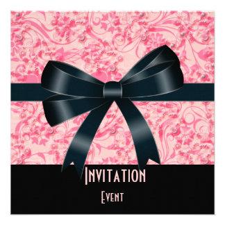Einladungs-schwarzer rosa Schmetterlings-Bogen Einladungen