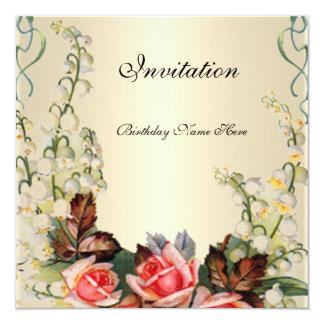 Einladungs-viktorianische hübsche BlumenRosen Karte