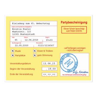 Einladungskarte als Attest/Krankenschein, gelb Postkarte