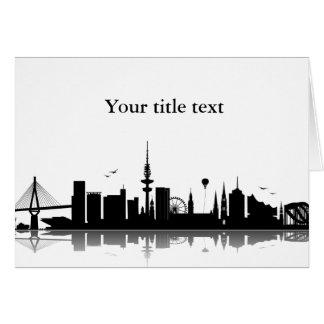 Einladungskarte mit Hamburg Skyline. Grußkarte
