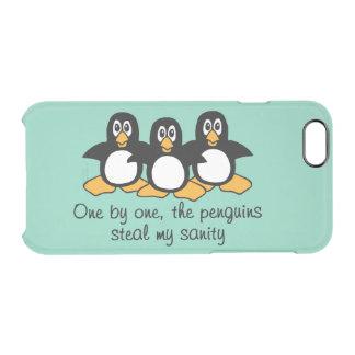 Eins nach dem anderen die Pinguine (Grün) Durchsichtige iPhone 6/6S Hülle