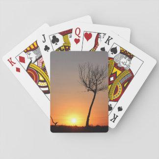 Einsame Baum-Silhouette Spielkarten