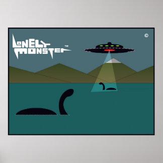Einsame Monster und UFO Poster
