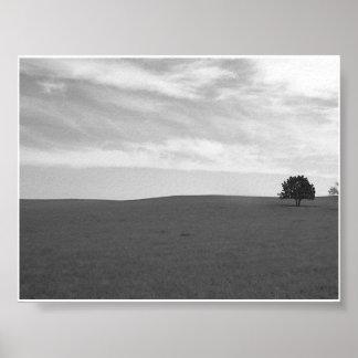 Einsame Schwarzweiss-Prarie Szene Poster