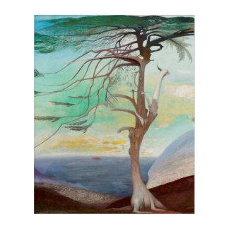 Einsame Zedern-Baum-Landschaftsmalerei Acryldruck
