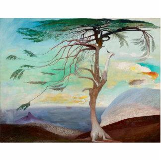 Einsame Zedern-Baum-Landschaftsmalerei Fotoskulptur Button