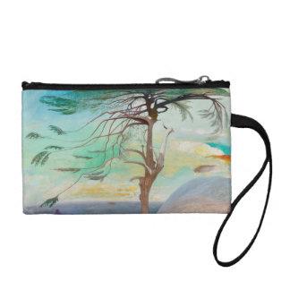 Einsame Zedern-Baum-Landschaftsmalerei Münzbörse