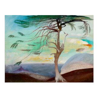Einsame Zedern-Baum-Landschaftsmalerei Postkarte