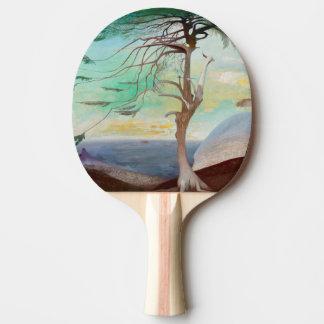 Einsame Zedern-Baum-Landschaftsmalerei Tischtennis Schläger