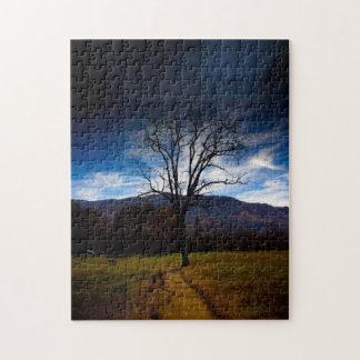 Einsamer bloßer Baum im Herbst Puzzle