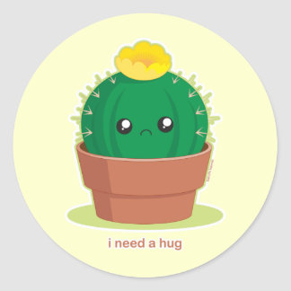 Einsamer Kaktus Runder Aufkleber