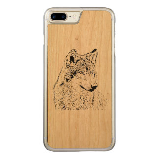 Einsamer Wolf Carved iPhone 8 Plus/7 Plus Hülle