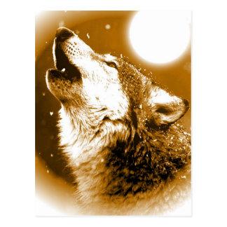 Einsamer Wolf, der am Mond heult Postkarte
