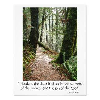 Einsamkeits-Zitat-Baum-Rotholz-Wanderweg-Plakat Fotodruck