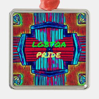 Einschließliches 'LGBTQA STOLZ Quadratisches Silberfarbenes Ornament