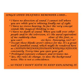 Einseitige Taubheits-Wiegenlaken Postkarte