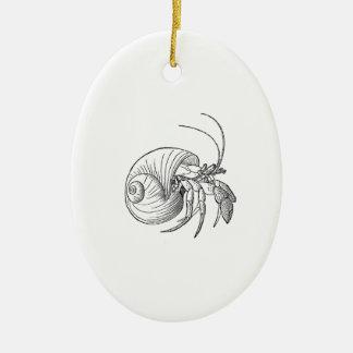 Einsiedlerkrebs-Illustration (Linie Kunst) Keramik Ornament
