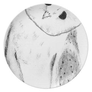 Einzigartige Hand gezeichnete Schleiereule Melaminteller