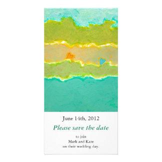 Einzigartige Kunst der romantischen Save the Date Foto Karte