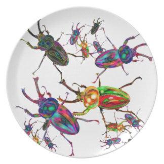 Einzigartige Regenbogenhirschkäfer-Kunstgeschenke Flache Teller