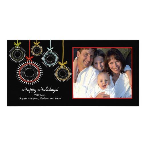Einzigartige schwarze WeihnachtenOraments Foto-Kar Photo Grußkarte