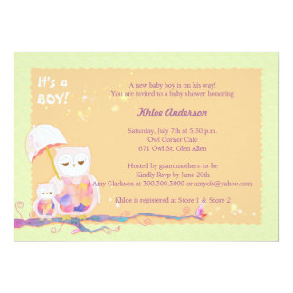 Einzigartige süße Eulen-Baby-Babyparty 12,7 X 17,8 Cm Einladungskarte