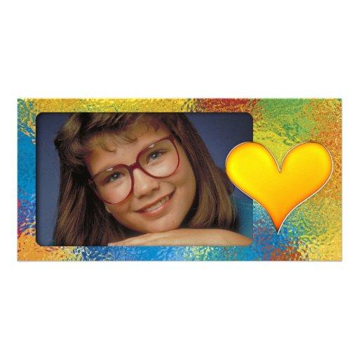 Einzigartiger bunter Fotorahmen mit niedlichem Her Personalisierte Foto Karte