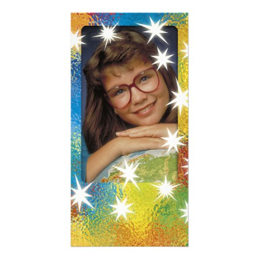 Einzigartiger bunter Fotorahmen mit weißen Sternen Photokarte