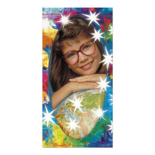 Einzigartiger bunter Fotorahmen mit weißen Sternen Bilderkarten