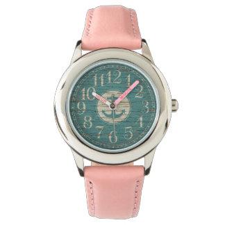 Einzigartiger dekorativer Seeanker-Vintages Holz Armbanduhr