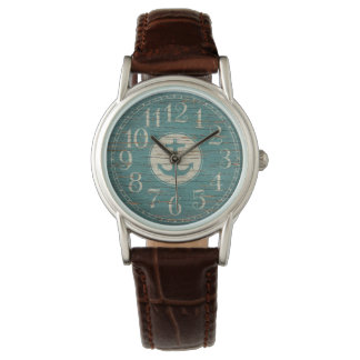 Einzigartiger dekorativer Seeanker-Vintages Holz Uhr