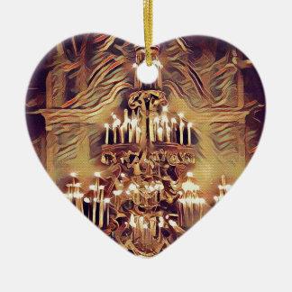 Einzigartiger künstlerischer Vintager beleuchteter Keramik Herz-Ornament