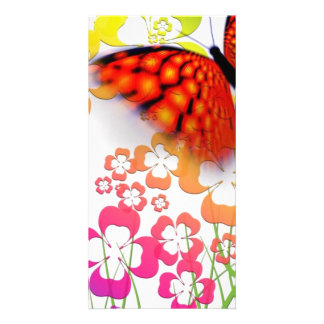 Einzigartiger Schmetterling und Blumen Photokarte