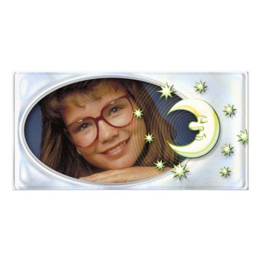 Einzigartiger silberner Fotorahmen mit niedlichem  Fotokartenvorlage