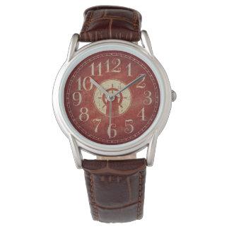 Einzigartiges dekoratives rotes Vintages Uhr