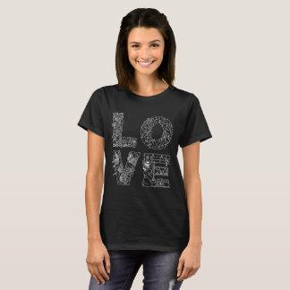 Einzigartiges dekoratives Textschwarzes der LIEBE T-Shirt