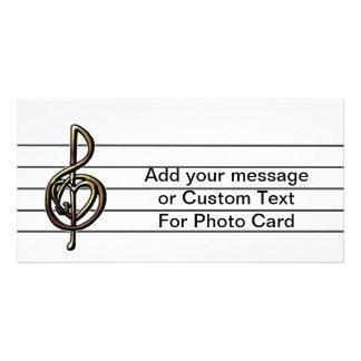 Einzigartiges dreifacher Clef-Musik-Personal Foto Grußkarte