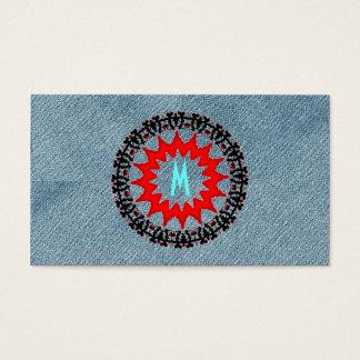 Einzigartiges Monogramm-modisches Denim modernes Visitenkarte