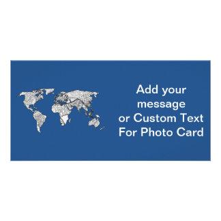 Einzigartiges Weltkarte-Kunst-Gekritzel Photokarten